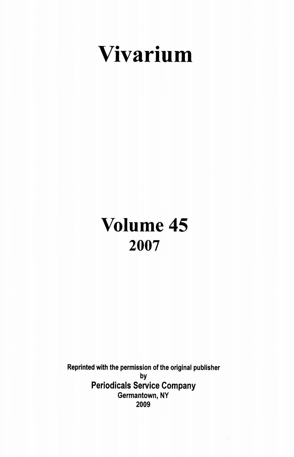 Vivarium Vol 45, Nos 1 2, 2007 By Uomodellarinascita - Issuu encequiconcerne Rébus Facile Avec Réponse