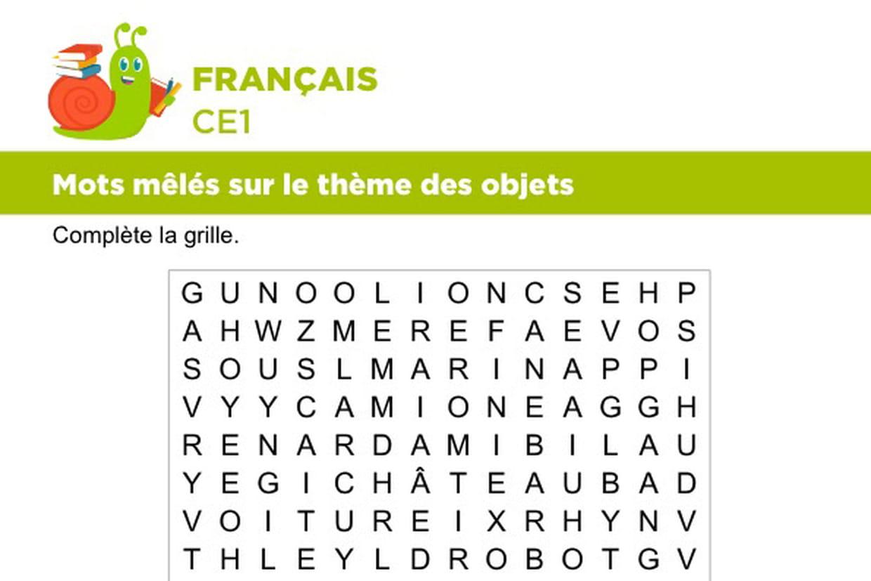 Vocabulaire, Mots Mêlés Sur Le Thème Des Objets à Mots Mélés À Imprimer Cm1