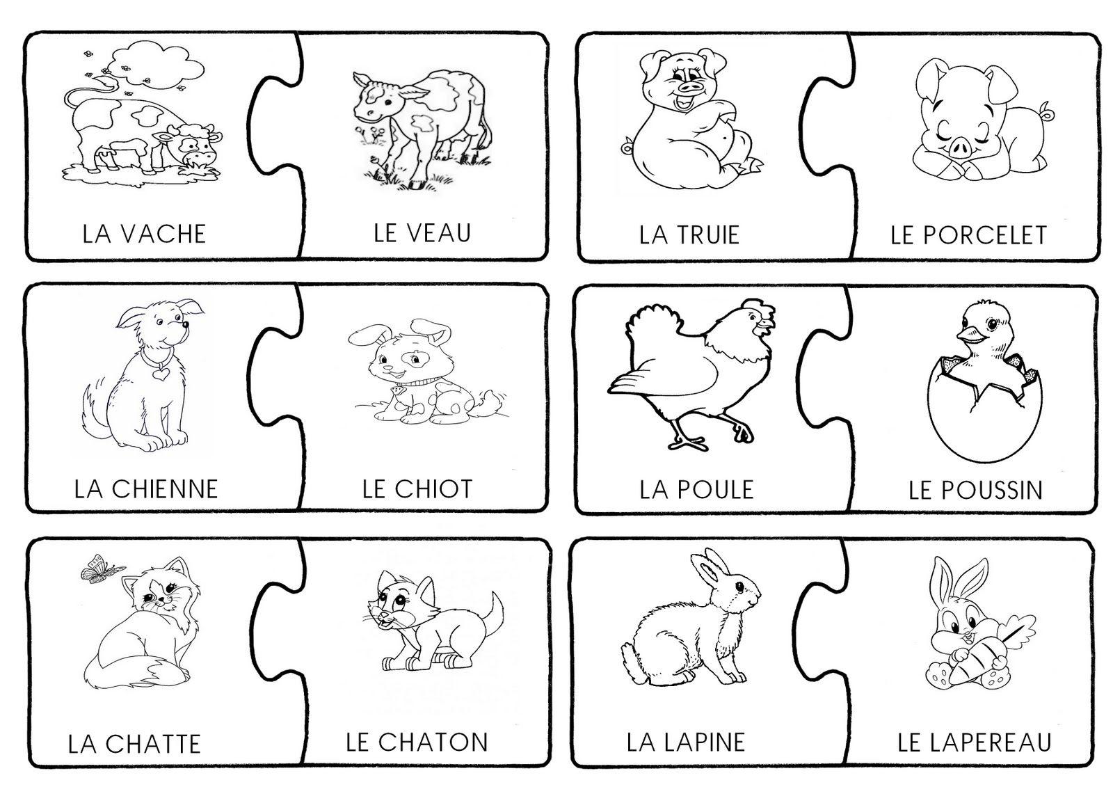 Voici Un Jeu De Memory-Puzzle Pour Apprendre Le Nom Des dedans Apprendre Le Nom Des Animaux