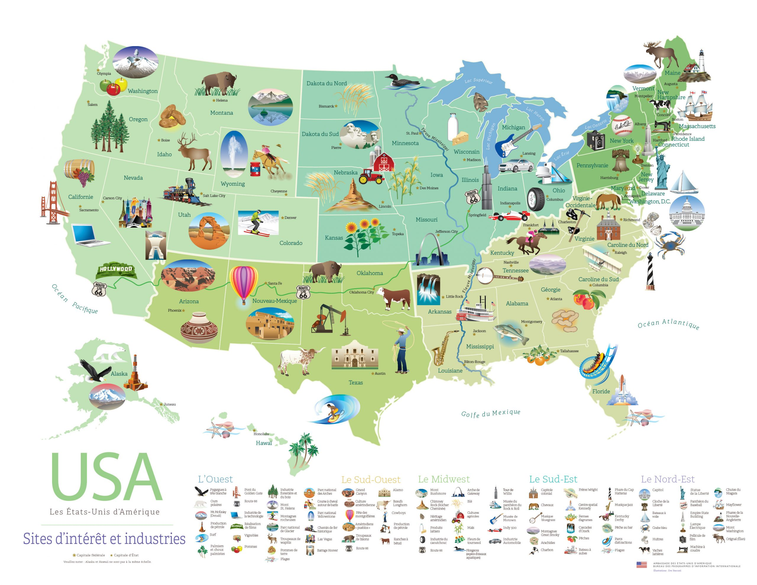 Voici Un Poster Gratuit De Sites Et De Produits Des États encequiconcerne Carte Avec Les Departement