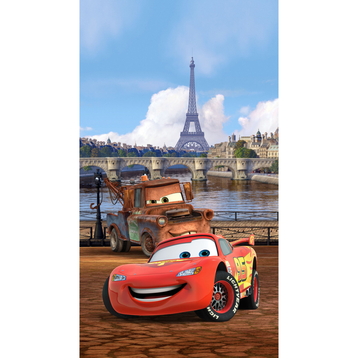 Voilage Taille L Cars Flash Mc Queen Et Martin À Paris De Disney 140Cm X  245Cm concernant Flash Mcqueen Martin