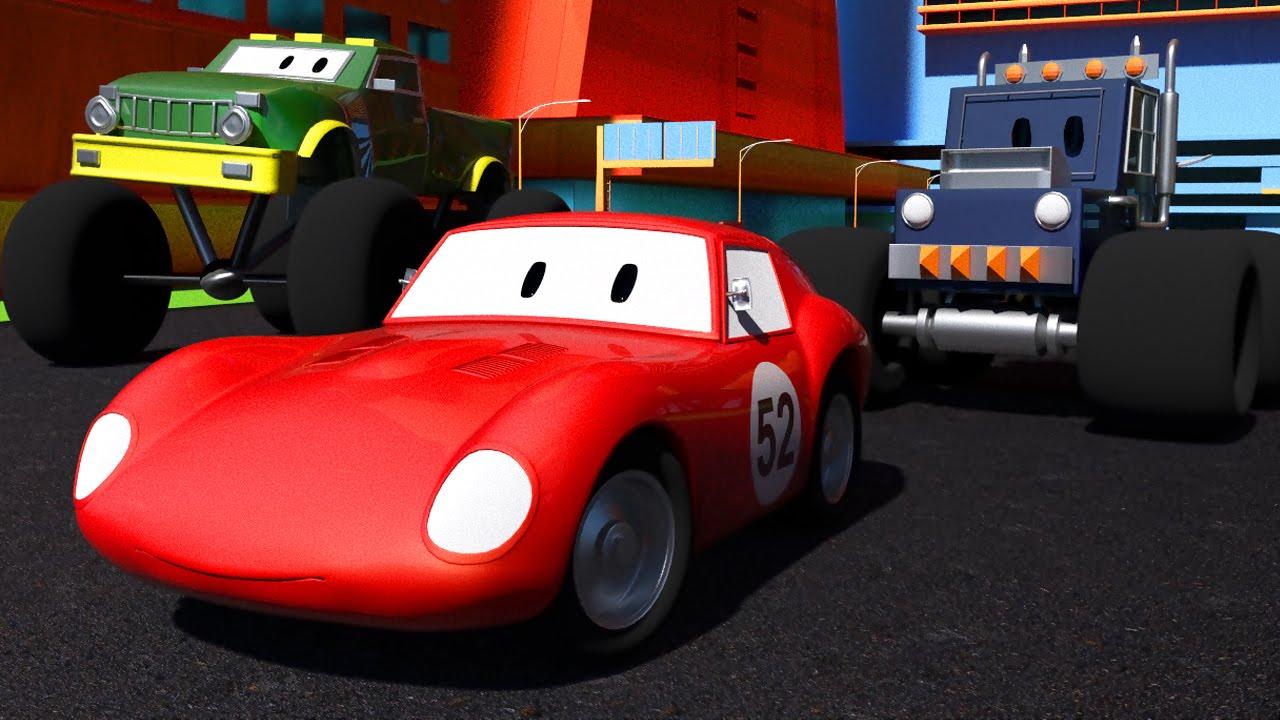 Voiture De Course Spid + 2 Camions Monster Trucks   Dessin Animé Pour  Enfant À La Flash Mcqueen Cars intérieur Jeux De Course De Voiture Pour Enfan