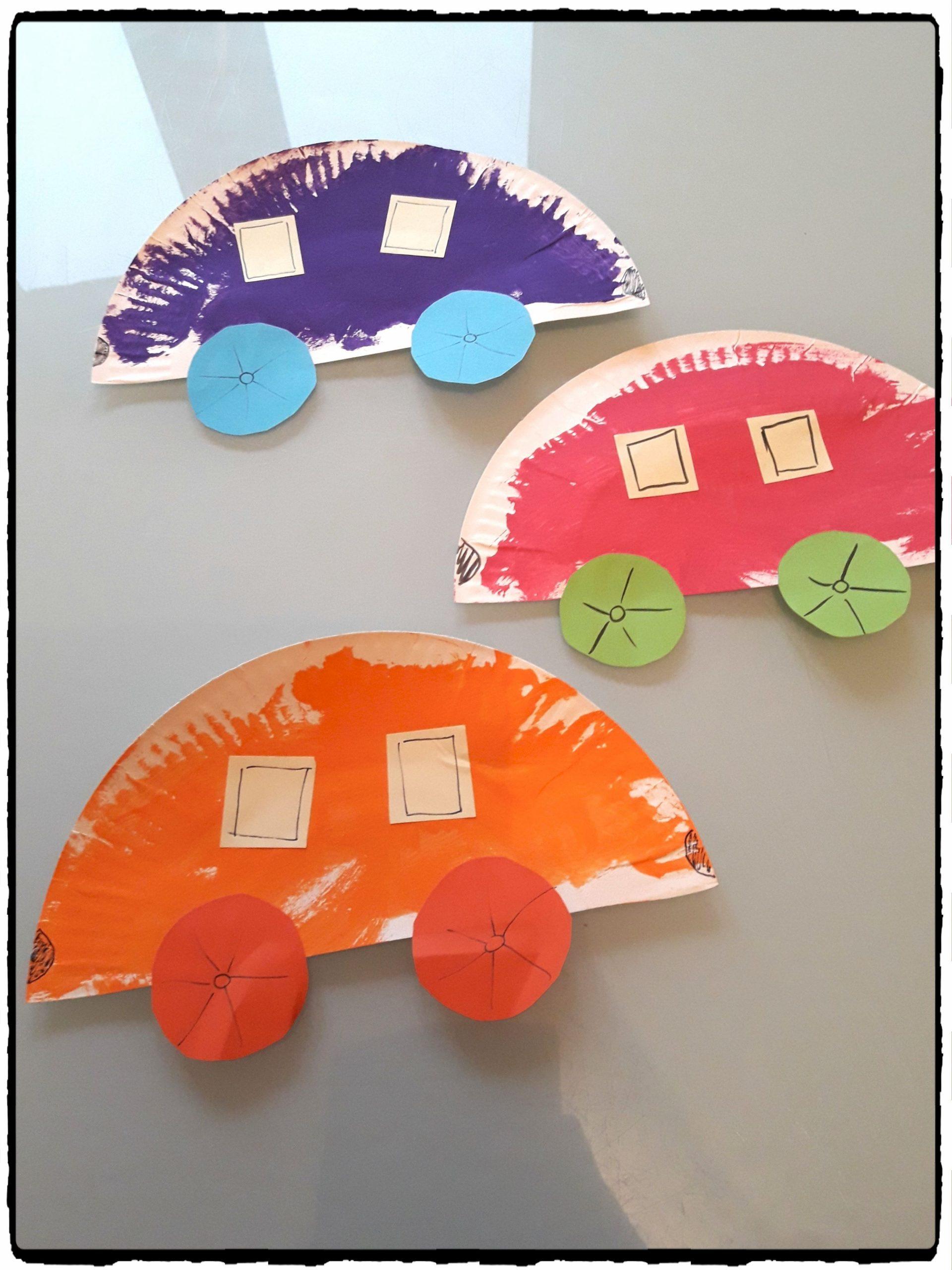 Voitures En Assiettes En Carton | Assiette Carton, Voiture avec Activité Manuelle Enfant 4 Ans