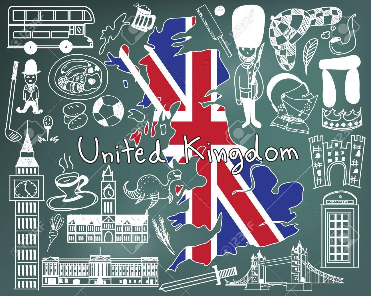 Voyage Au Royaume-Uni Angleterre Et L'ecosse Icône De Dessin Du Doodle Avec  La Culture, Le Costume, Le Point De Repère Et La Cuisine Concept concernant Dessin De Angleterre