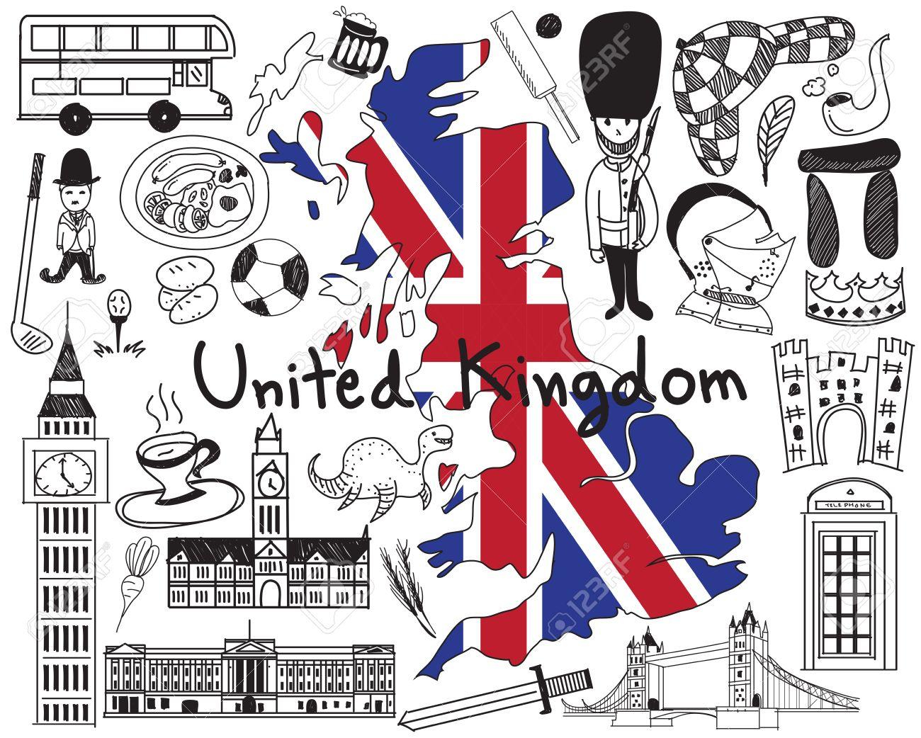 Voyage Au Royaume-Uni L'angleterre Et L'ecosse Dessinez L'icône Du Dessin  Avec La Culture, Le Costume, Le Point De Repère Et Le Concept Du Tourisme  De à Dessin De Angleterre