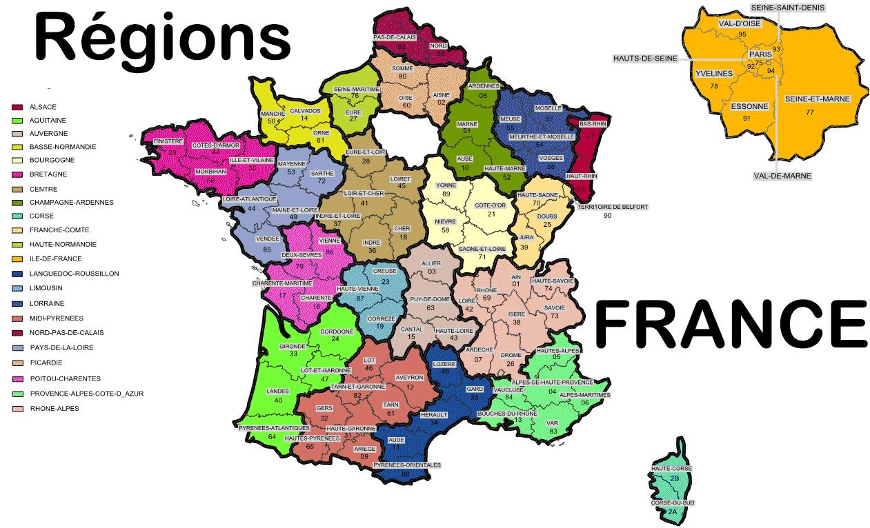 Voyage - Région De France - Arts Et Voyages à Carte De France Avec Les Villes