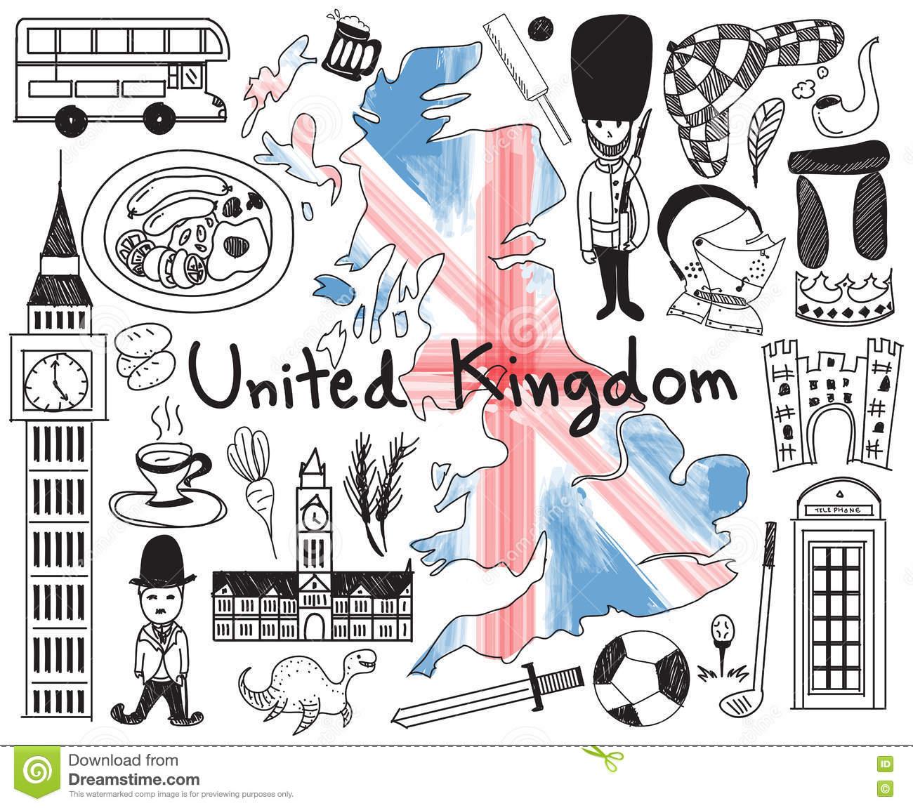 Voyagent Le Dessin Du Royaume-Uni Angleterre Et De L'ecosse destiné Dessin De Angleterre