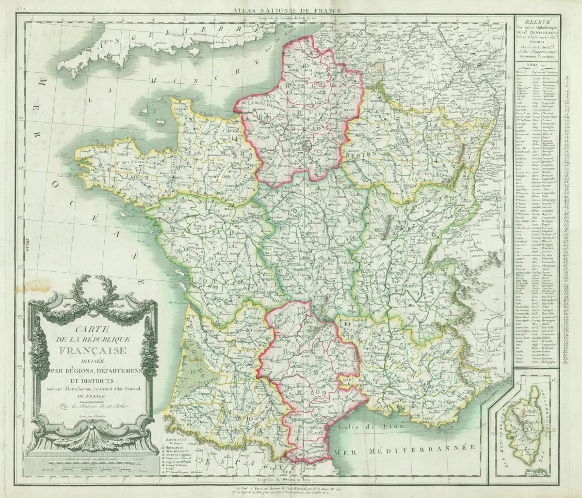 Vue Carte Atlas Topographique | Bibliothèque Historique Du intérieur Les Nouvelles Régions De France Et Leurs Départements
