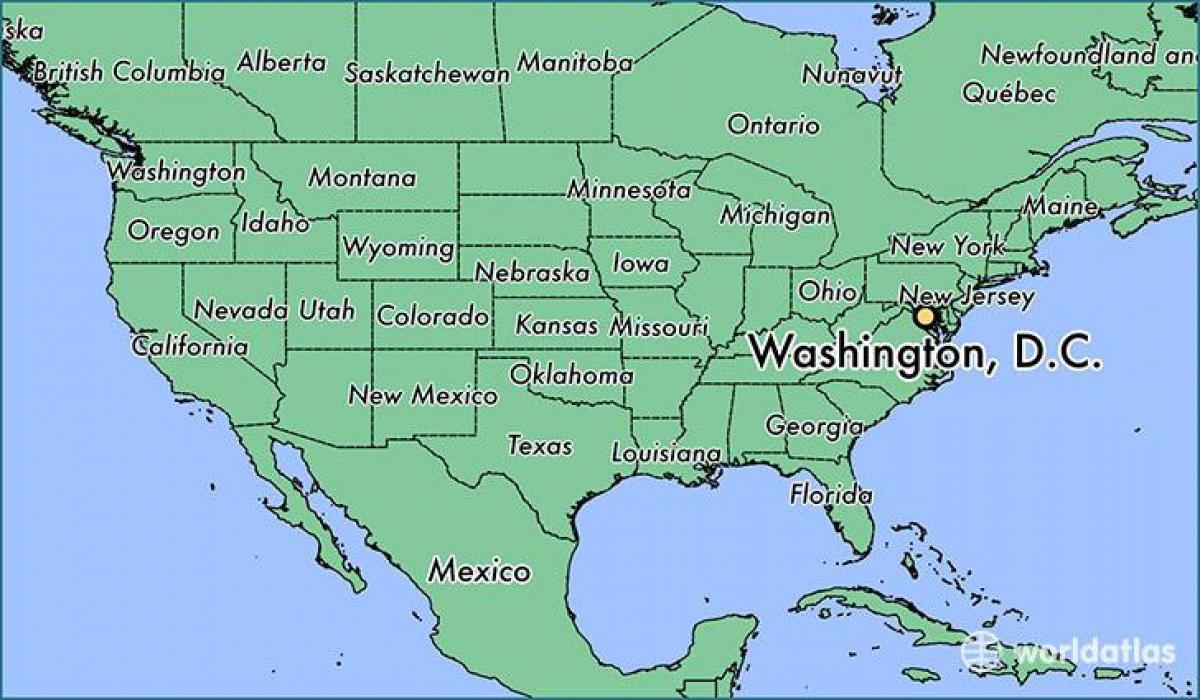 Washington Dc Sur La Carte Des États-Unis - Dc Carte Des pour Carte Des Etats Unis À Imprimer