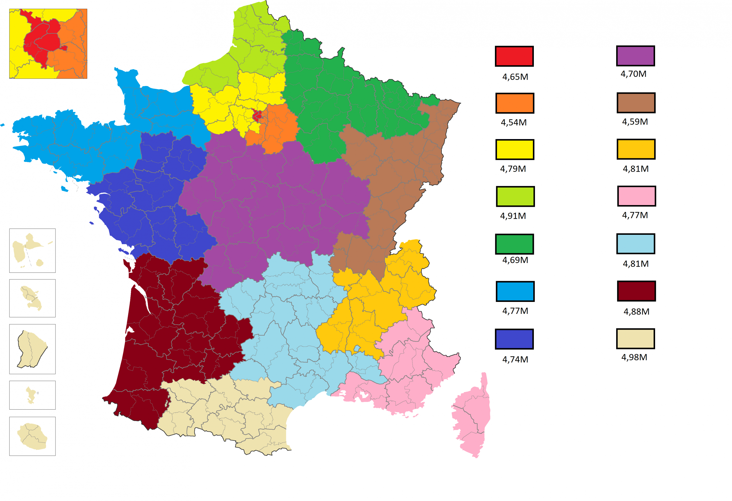 Week 14: France If Its 14 Regions (13+Overseas) Had About encequiconcerne 13 Régions Françaises