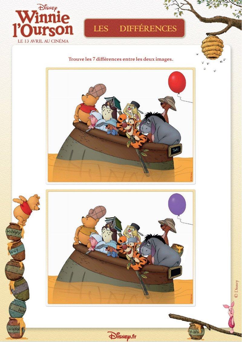Winnie L'ourson : Jeu Des 7 Différences - Momes destiné Jeux Des 7 Différences Gratuit