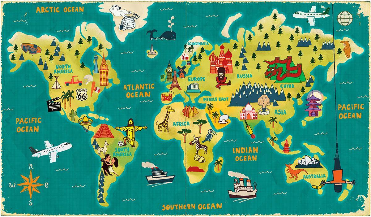 World Map Wallpaper | Art Carte, Carte Du Monde A Imprimer avec Carte De France Pour Les Enfants