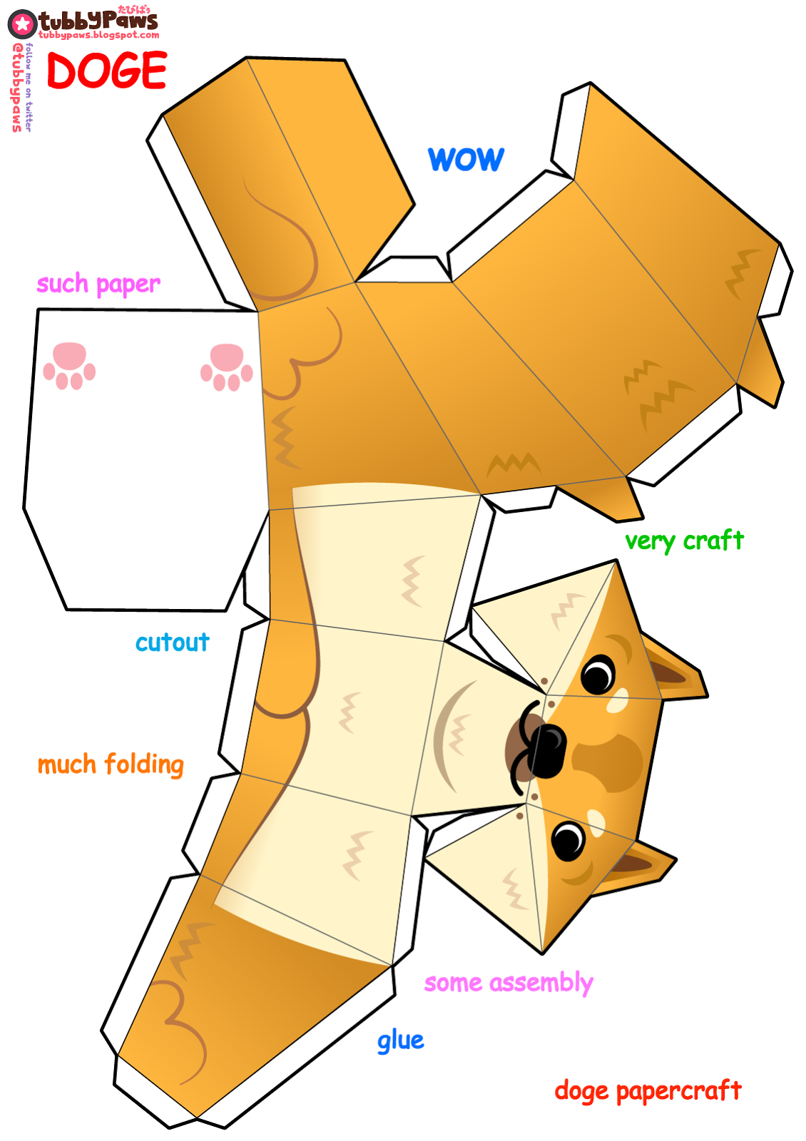 Wow, Such Paper, Very Craft. Tubbypaws Presents A Happy à Paper Toy A Imprimer