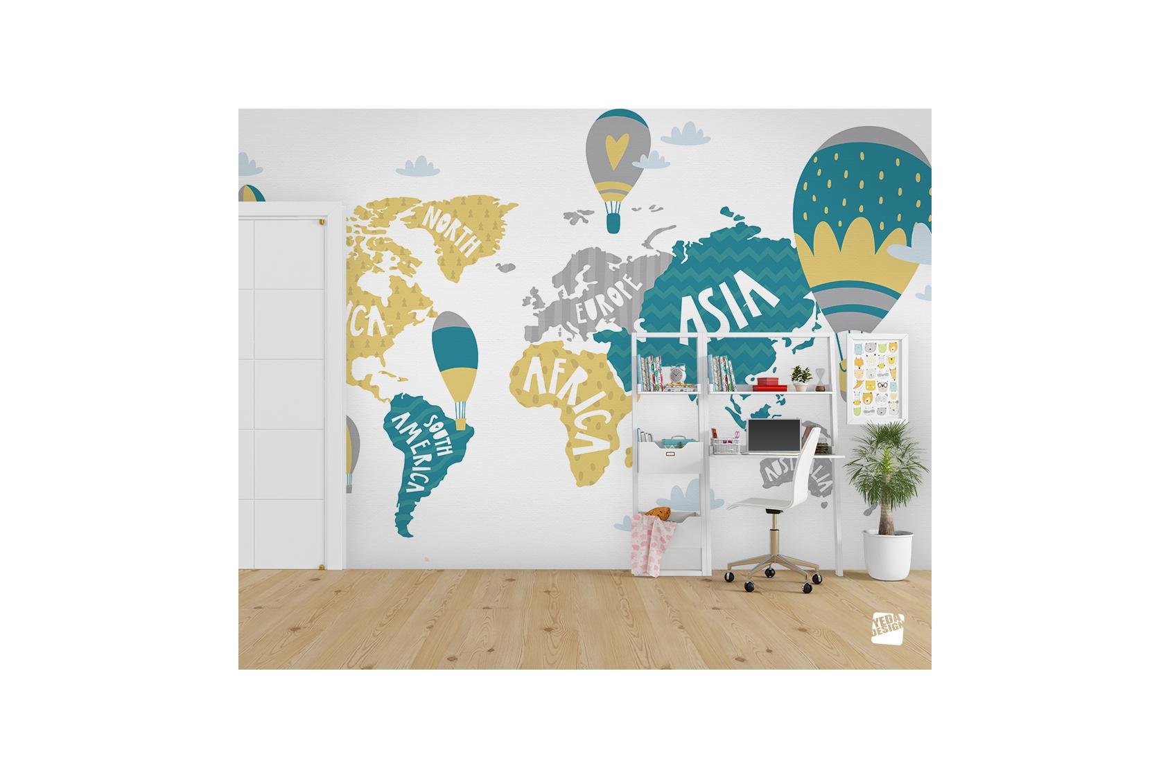 Yeda Design - Acheter Un Papier Peint Carte Du Monde Pour Chambre intérieur Carte Du Monde Pour Enfant