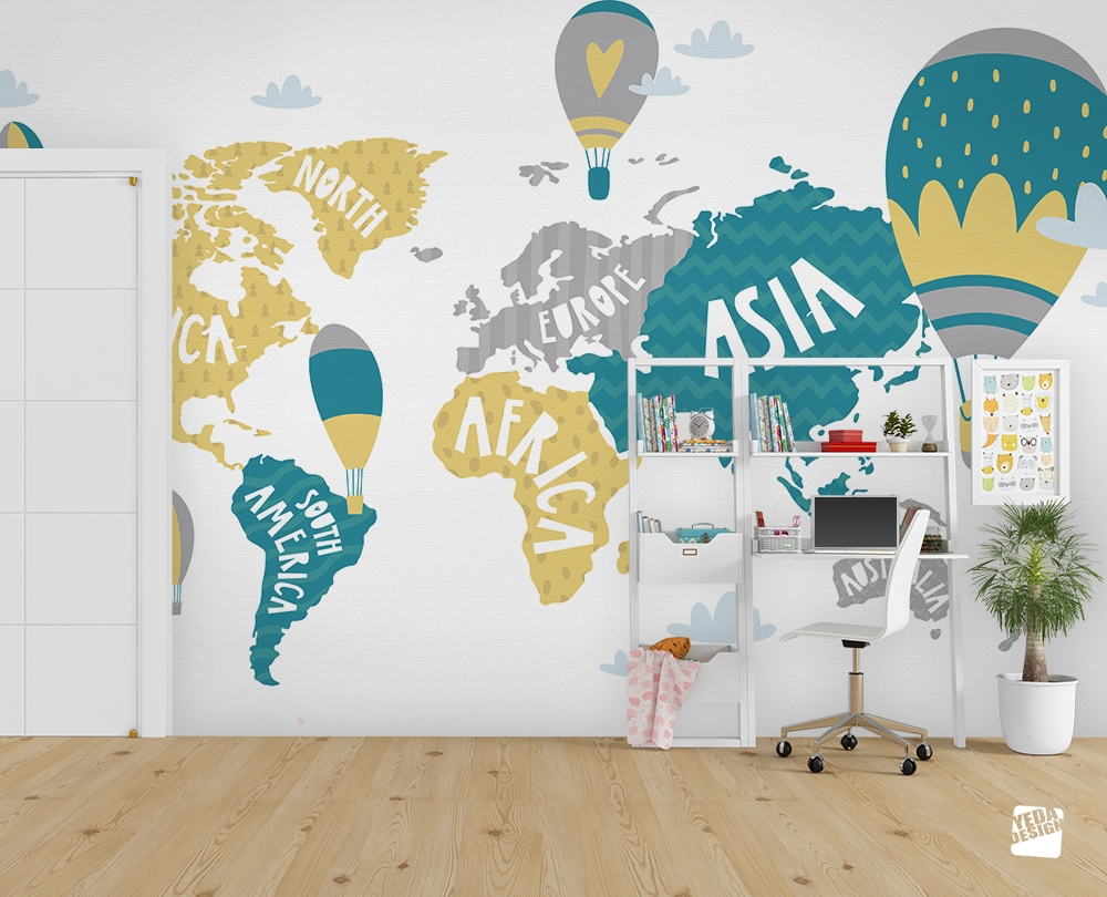 Yeda Design - Acheter Un Papier Peint Carte Du Monde Pour destiné Carte Du Monde Pour Enfant