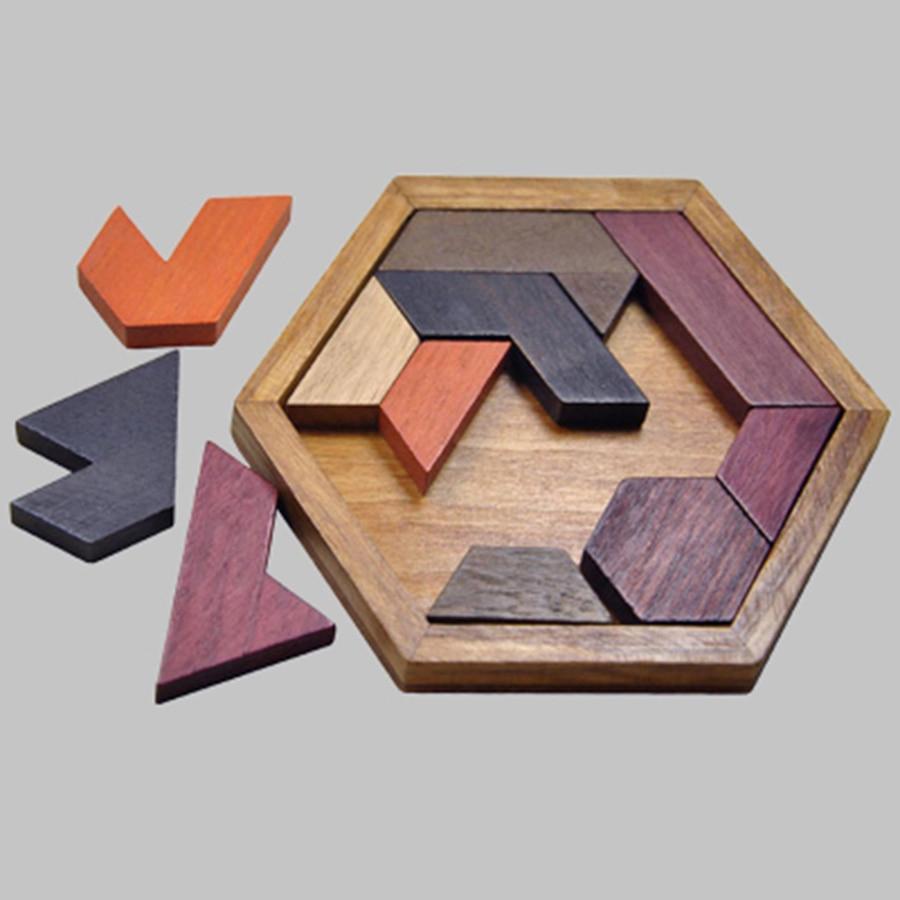 Yetişkinler Için Eğitim Tahta Oyunları Çocuklar Için Yapboz Bulmacalar  Ahşap Bulmaca Tangram Ahşap Boşlukları Jouet Oyuncaklar 70B262 Enfant avec Tangram Enfant