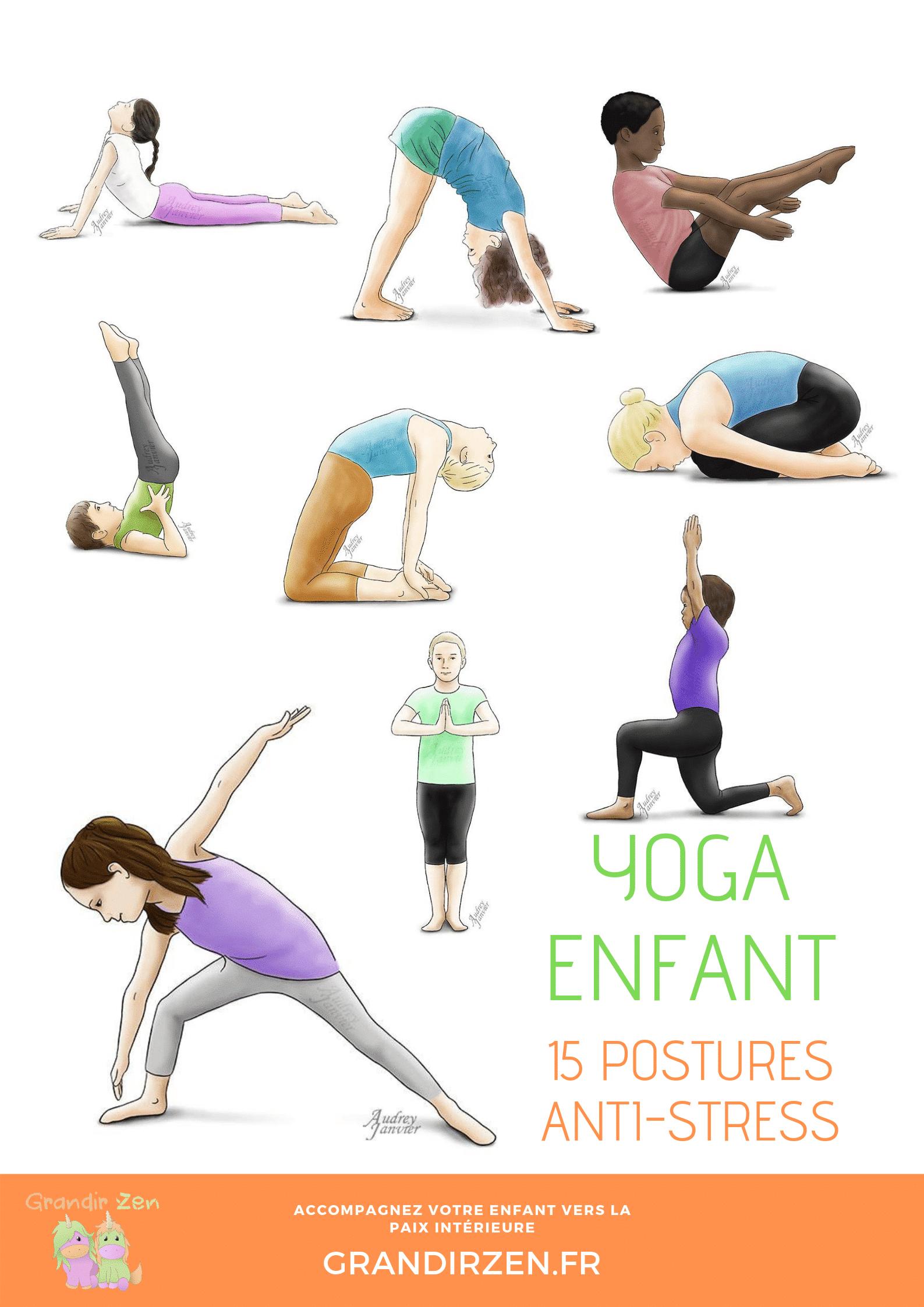 Yoga Pour Enfant : 15 Postures Anti-Stress - Grandirzen pour Exercice Enfant 4 Ans
