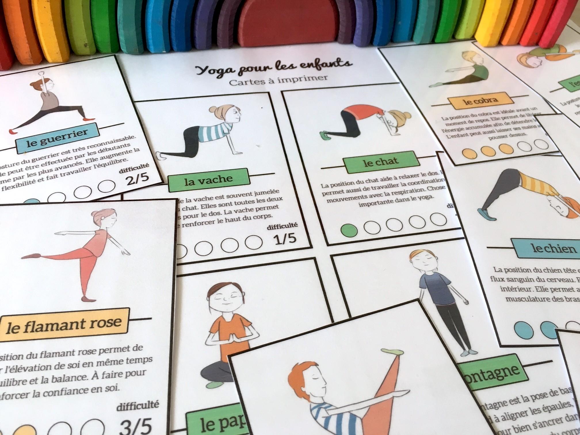 Yoga Pour Les Enfants {Cartes À Télécharger Gratuitement} destiné Exercice Pour Enfant De 4 Ans