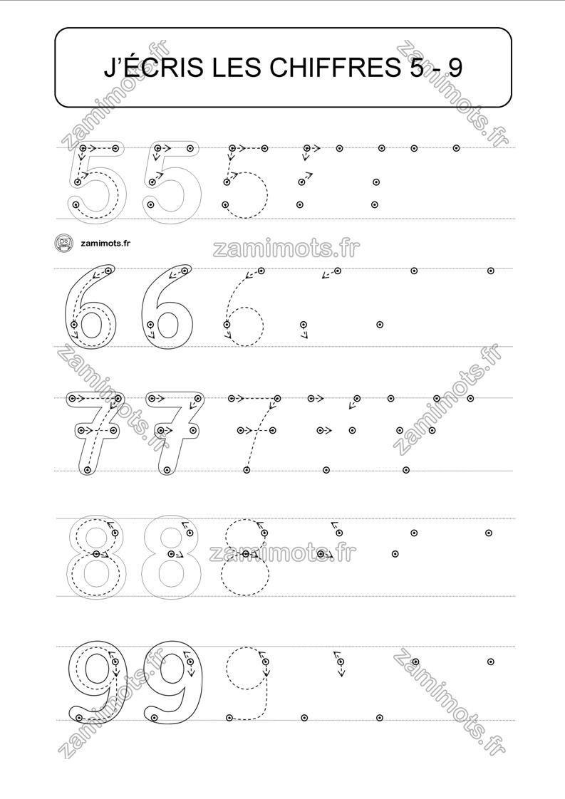 Zamimots - Fiches Pour L'apprentissage De L'écriture Des encequiconcerne Apprendre A Ecrire Les Chiffres