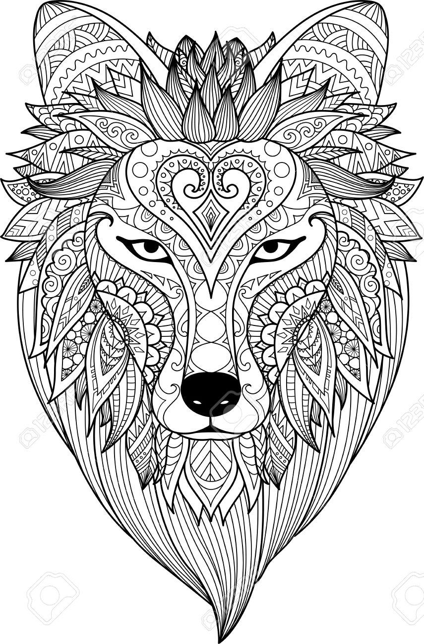 Zendoodle Stylise De Visage Loup Pour Une Page Et Un Élément De Dessin Pour  Colorier Pour Adultes tout Visage À Colorier