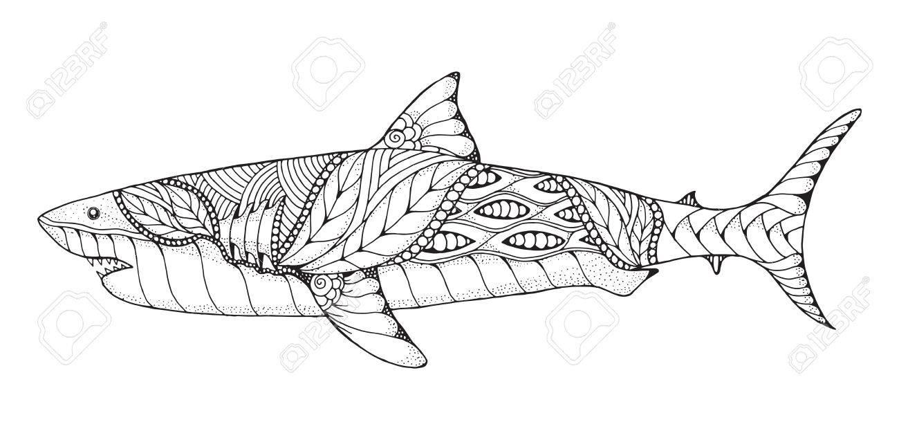 Zentangle Et Pointillé Stylisé, Grand Requin Blanc. Vector, Illustration,  Motif. Art Zen Illustration En Noir Et Blanc Sur Fond Blanc. Livre De destiné Coloriage Requin Blanc Imprimer
