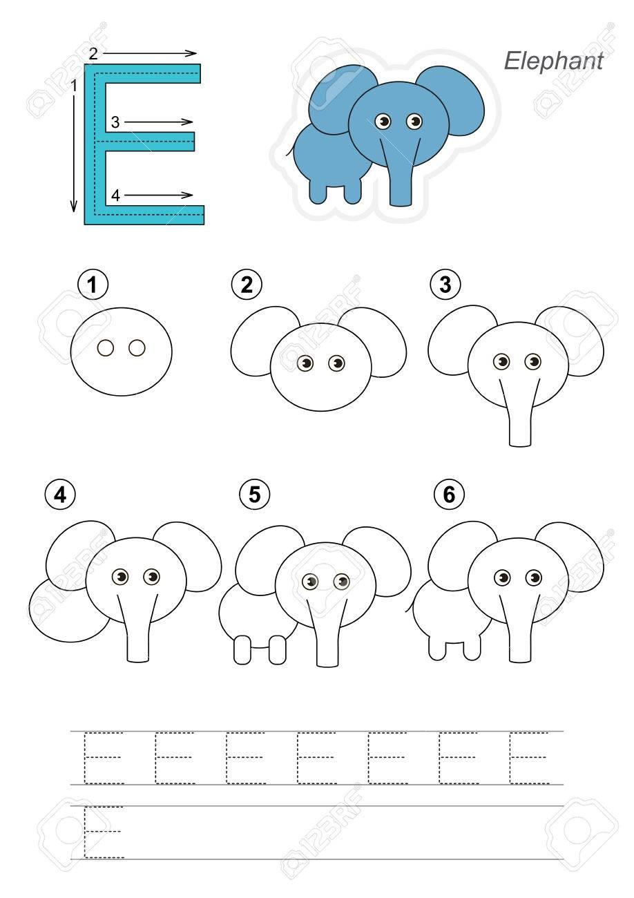 Zoo Alphabet Complet. Apprenez L'écriture. Dessin Tutoriel Pour La Lettre E avec Dessin Lettre E