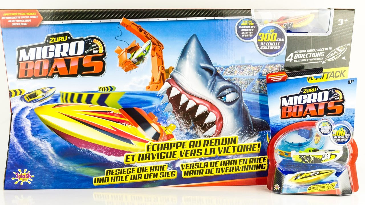 Zuru Micro Boats Racing Track Shark Attack Toy Review Juguetes Toys For Kids tout Voiture Requin Jouet
