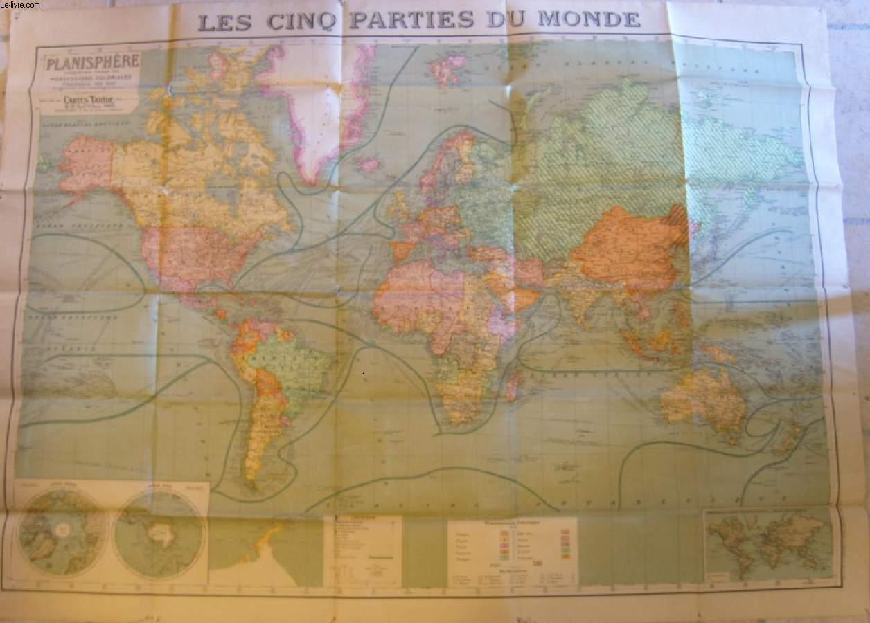 1 Carte Couleurs - Les Cinq Parties Du Monde intérieur Carte Du Monde En Ligne