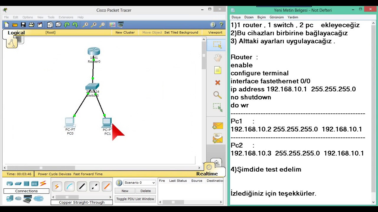 1 Router 1 Switch 2 Pc (Cisco Packet Tracer) Cisco Education dedans Relier Deux Pc