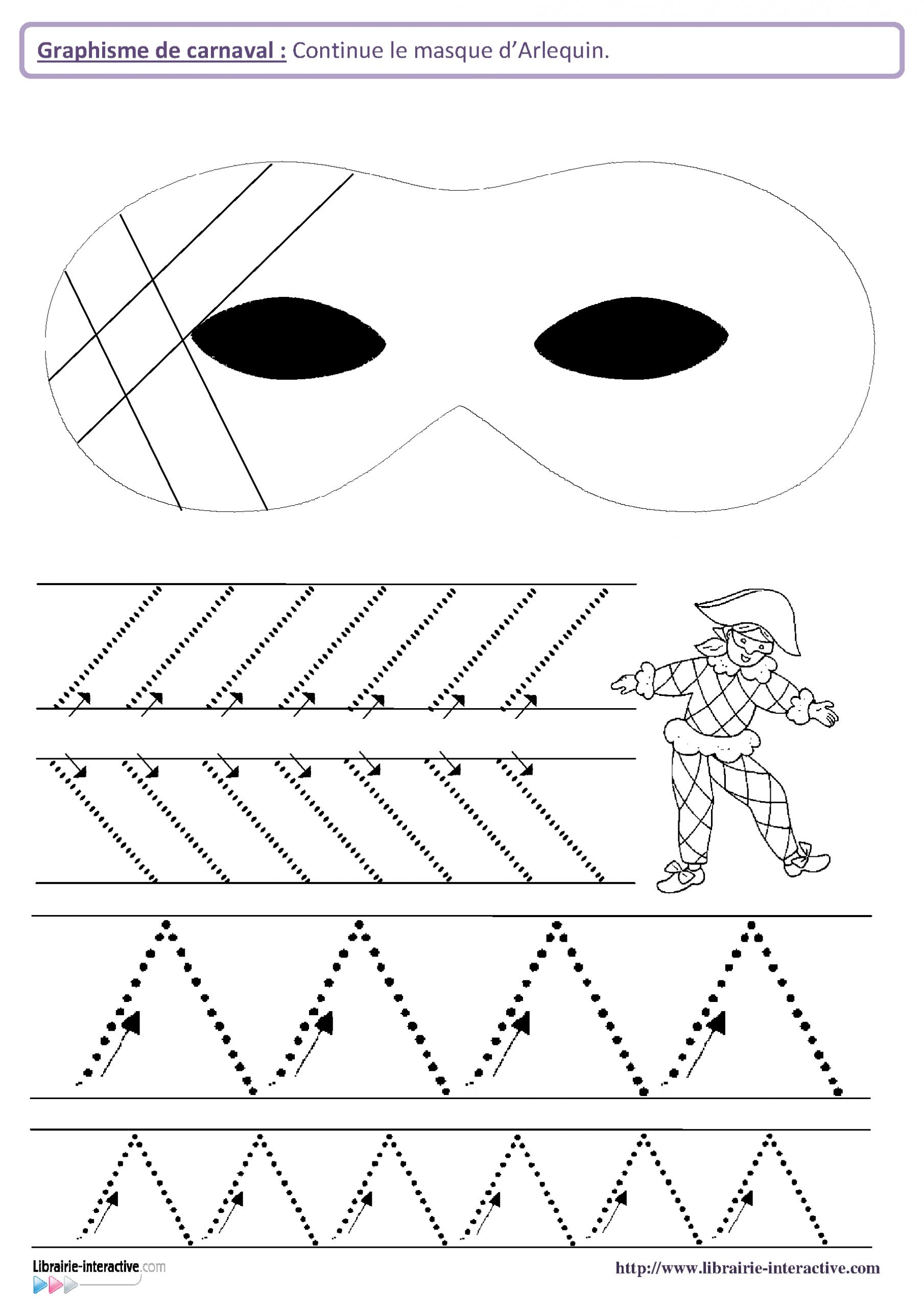 12 Fiches De Graphisme Sur Le Th Me De Carnaval, Pour Les intérieur Exercice De Graphisme Petite Section A Imprimer