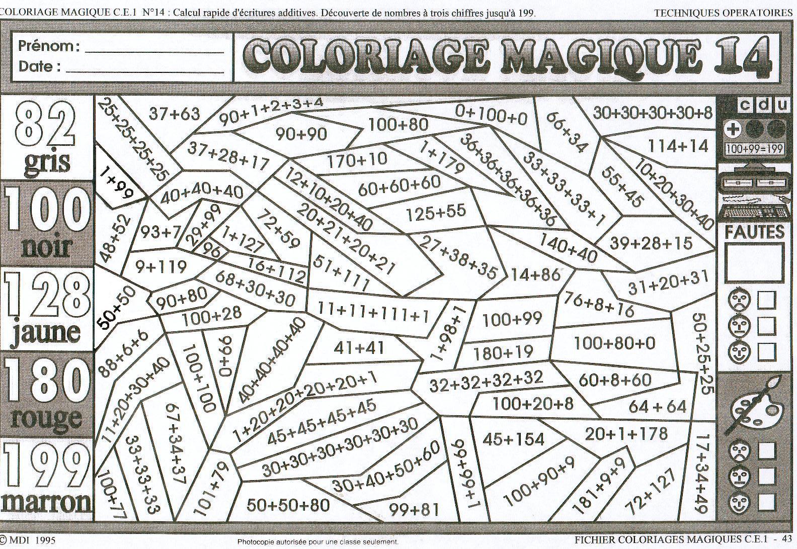 125 Dessins De Coloriage Magique Ce2 À Imprimer pour Coloriage De Calcul