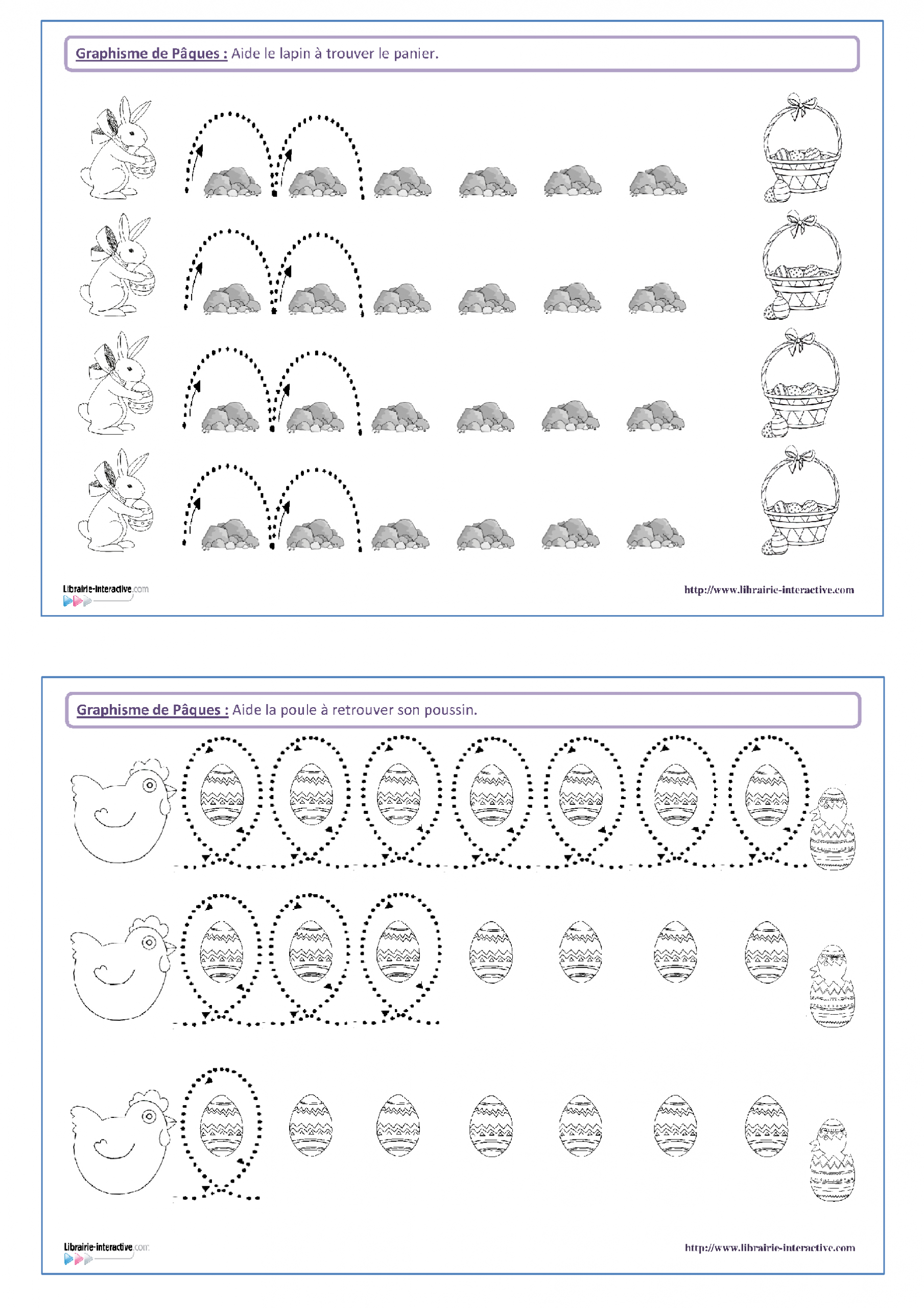 14 Fiches De Graphisme Sur Le Thème De Pâques, Pour Les à Exercice De Graphisme Petite Section A Imprimer