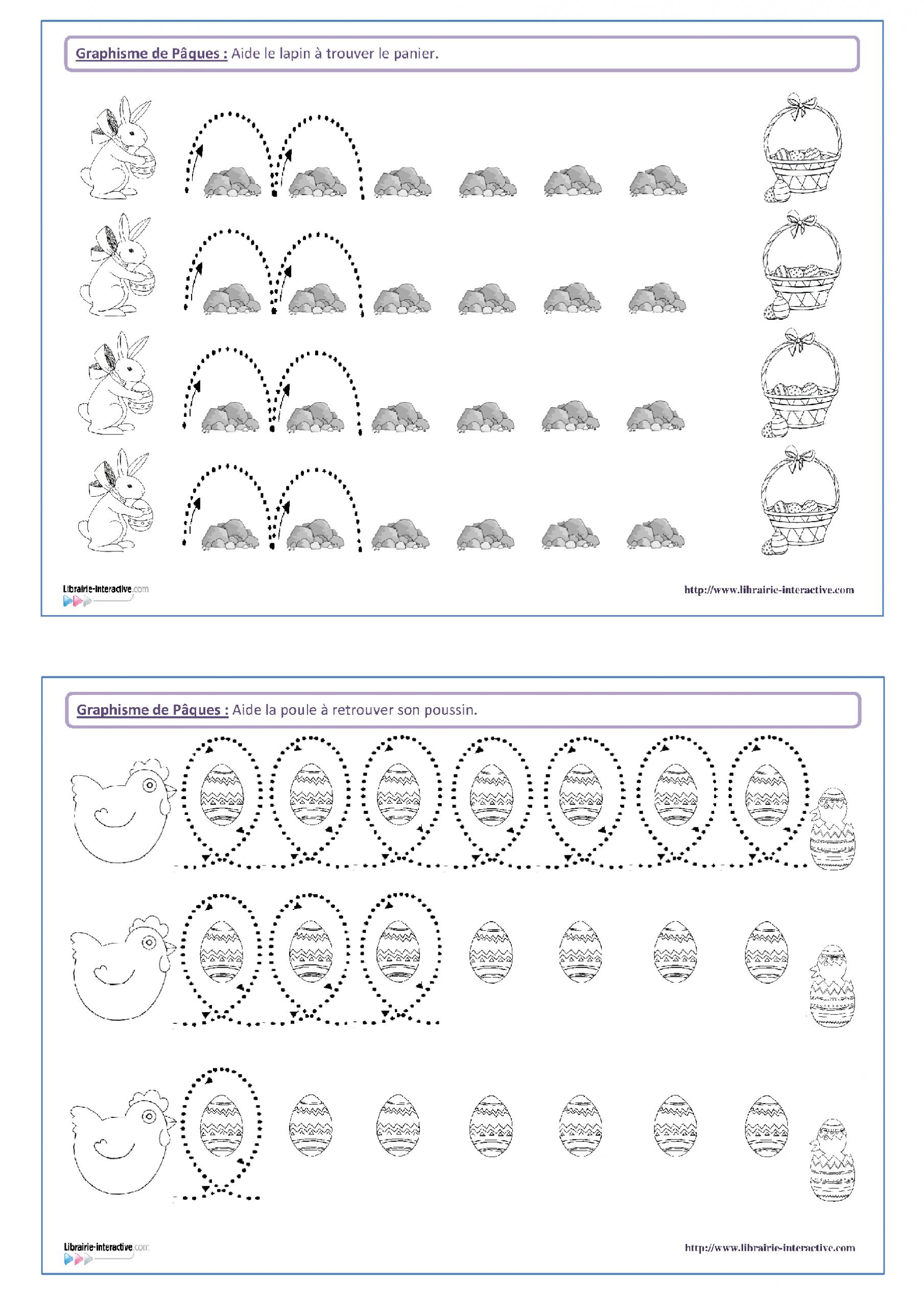 14 Fiches De Graphisme Sur Le Thème De Pâques, Pour Les tout Exercice Graphisme Moyenne Section