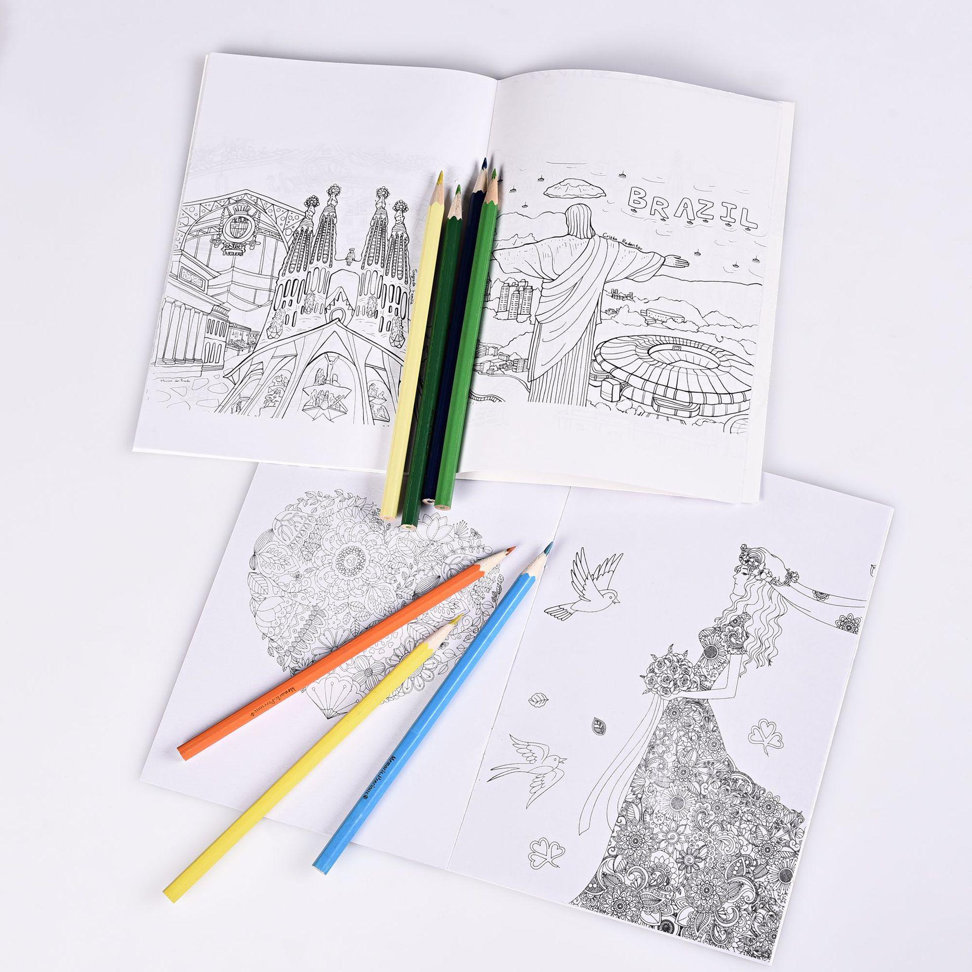 16 Pages Mystère Jardin Et Autour Du Monde Livre De Coloriage Enfants  Adulte Anglais Édition Livre De Dessin 21*14Cm avec Cahier De Coloriage Enfant