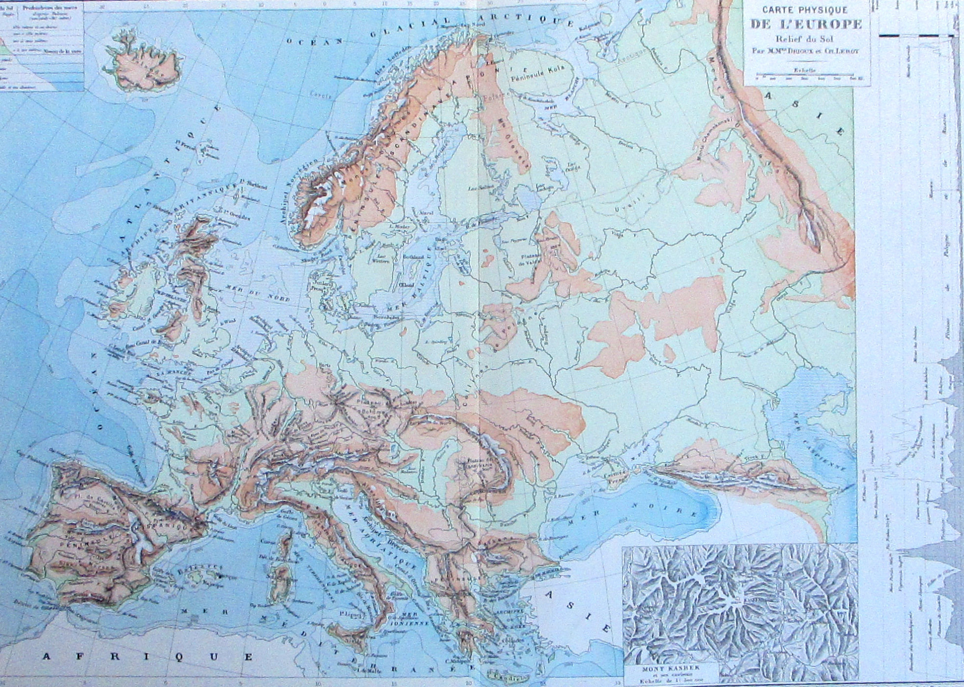 "1887 Europe Relief Map, Physical Geography, ""carte Physique De L'europe,  Relief Du Sol"". Original Antique Engraved Map. avec Carte De L Europe En Relief"