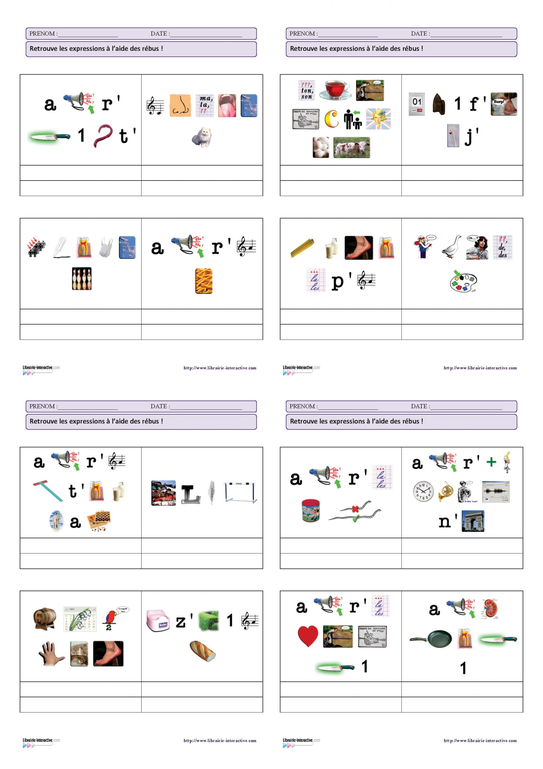 20 Expressions Françaises Très Connues À Découvrir À L'aide pour Fabriquer Un Rébus