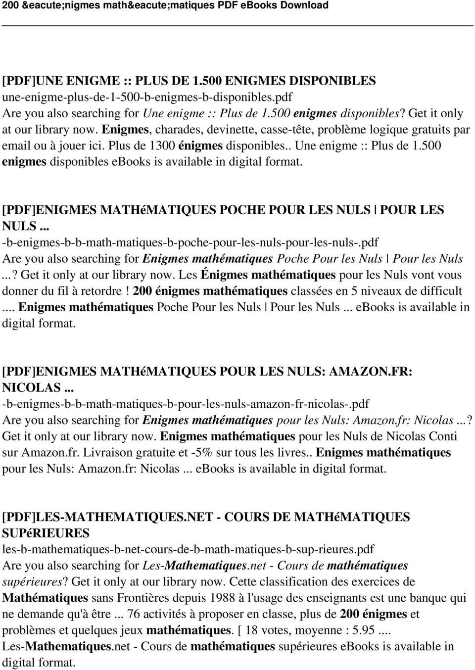 200 Énigmes Mathématiques Pdf - Pdf Free Download intérieur Charade A Imprimer