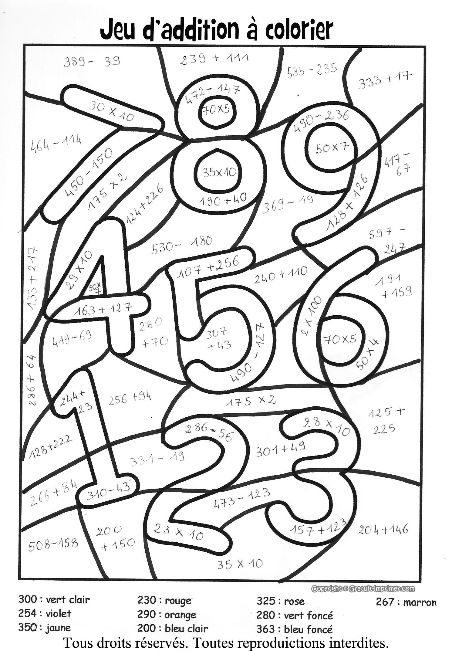 22 Dessins De Coloriage Magique Multiplication À Imprimer destiné Jeux De Coloriage Magique Cm1