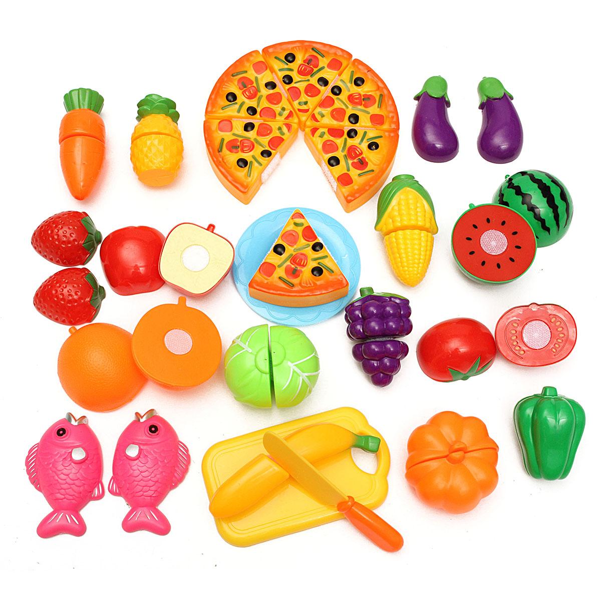 24Pcs Coupe Jouet Cuisine Dinette Fruit Plastique Enfant destiné Jeux De Fruit Et Legume Coupé