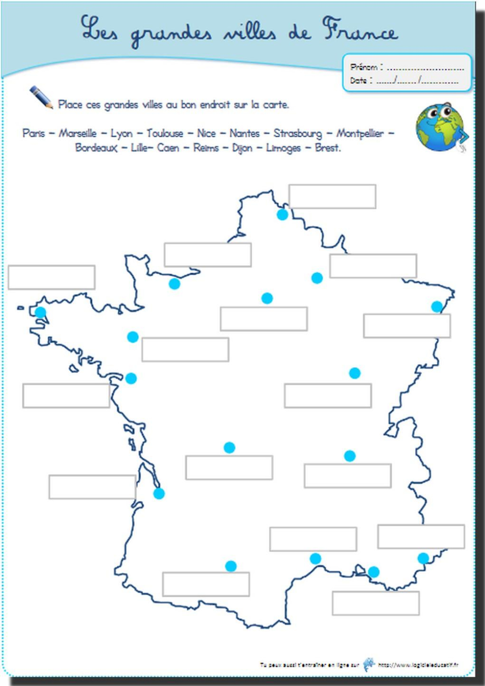 4 Fichiers À Télécharger Pour L'instruction En Maths Et En destiné Carte De France Ce2