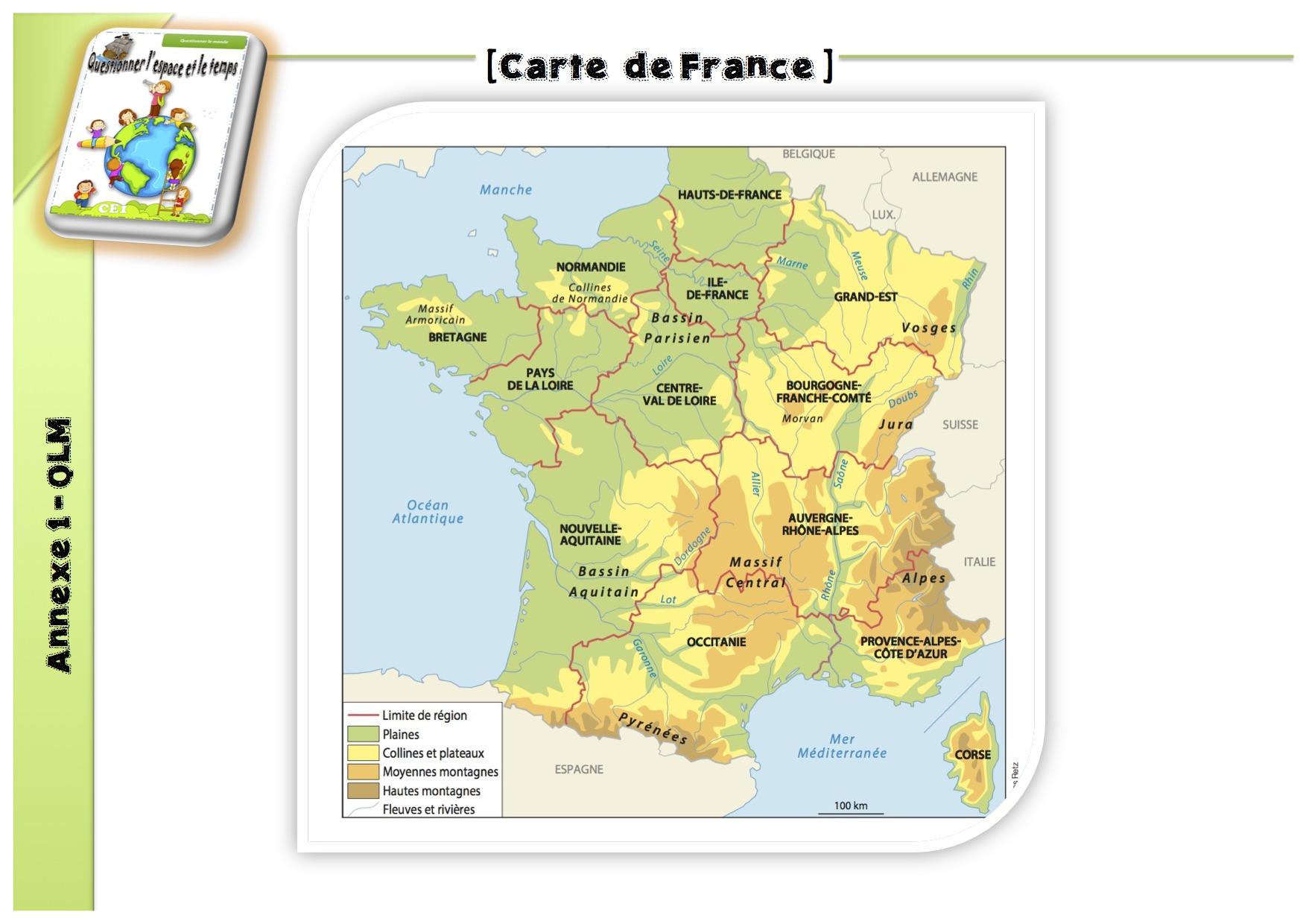 50 Expériences Qlm : L'espace - La Classe De Luccia ! dedans Carte De France Ce2