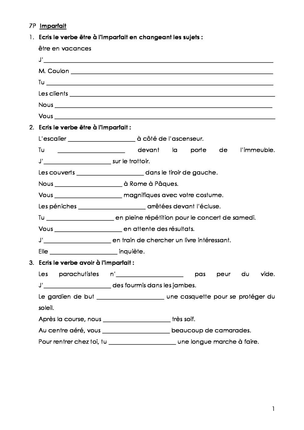 7P Conjugaison | Bdrp concernant Exercice Cm1 Conjugaison À Imprimer