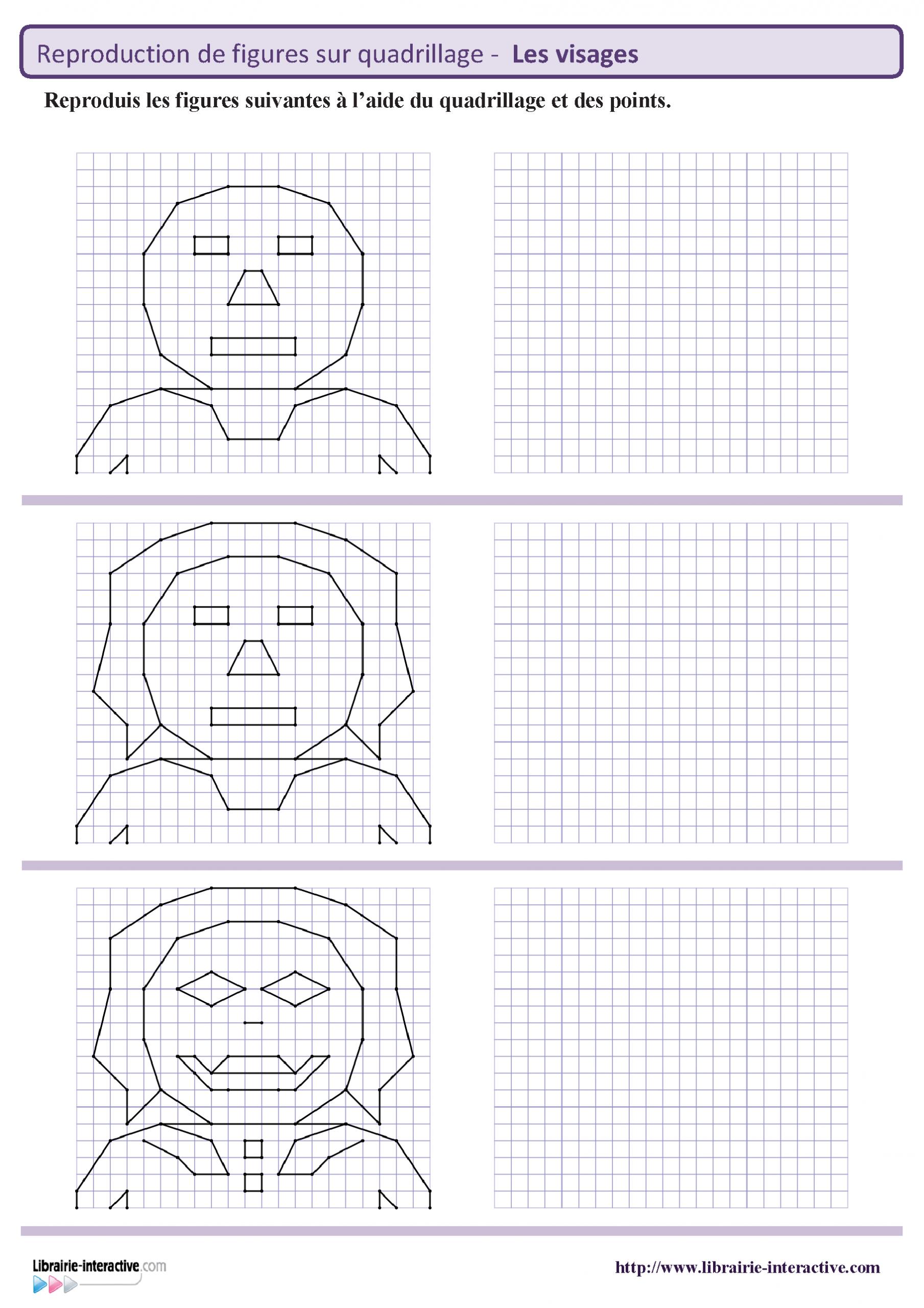 8 Fiches Avec Chacune 3 Visages À Reproduire Sur Quadrillage destiné Reproduction De Figures Ce2 Quadrillage