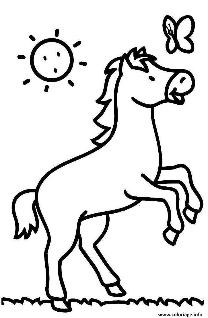 9 Amusant Coloriage Cheval Facile Stock | Coloriage Cheval destiné Cheval Dessin Couleur
