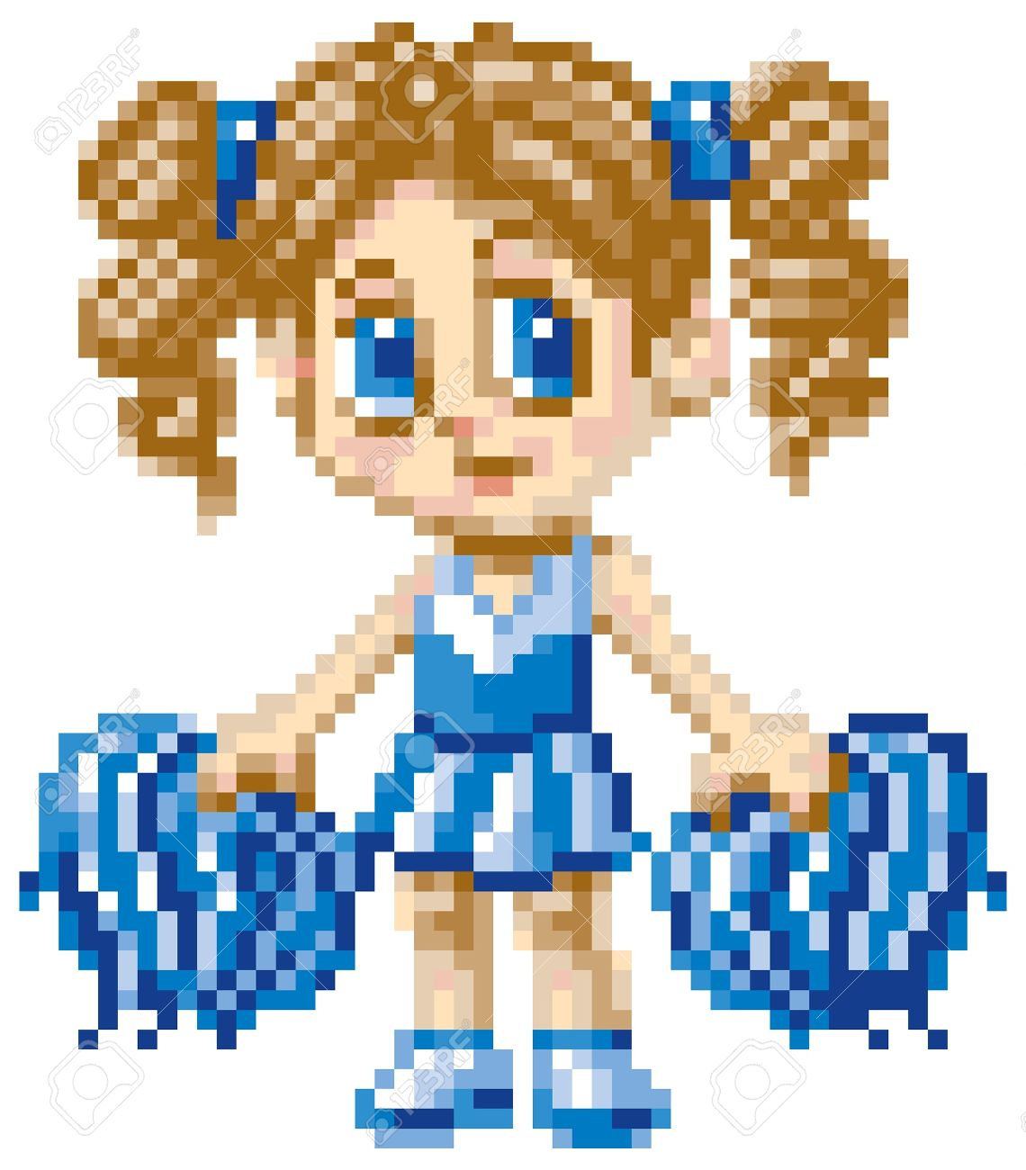 A Cheerleader Girl Illustrated In An Anime Or Manga Style, Rendered.. intérieur Pixel Art Facile Fille