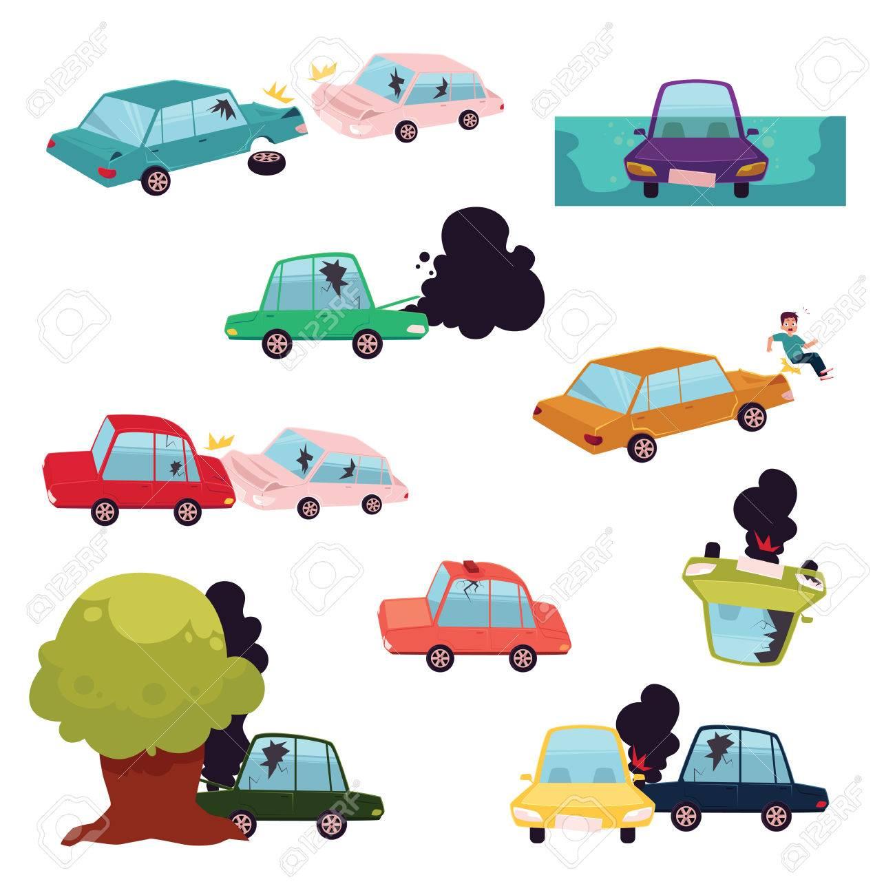 Accident De Voiture, Accident De La Route, Ensemble De Collision De  Véhicule À Moteur, Illustration De Vecteur De Dessin Animé Plat Isolé Sur  Fond encequiconcerne Jeux De Voiture Accident