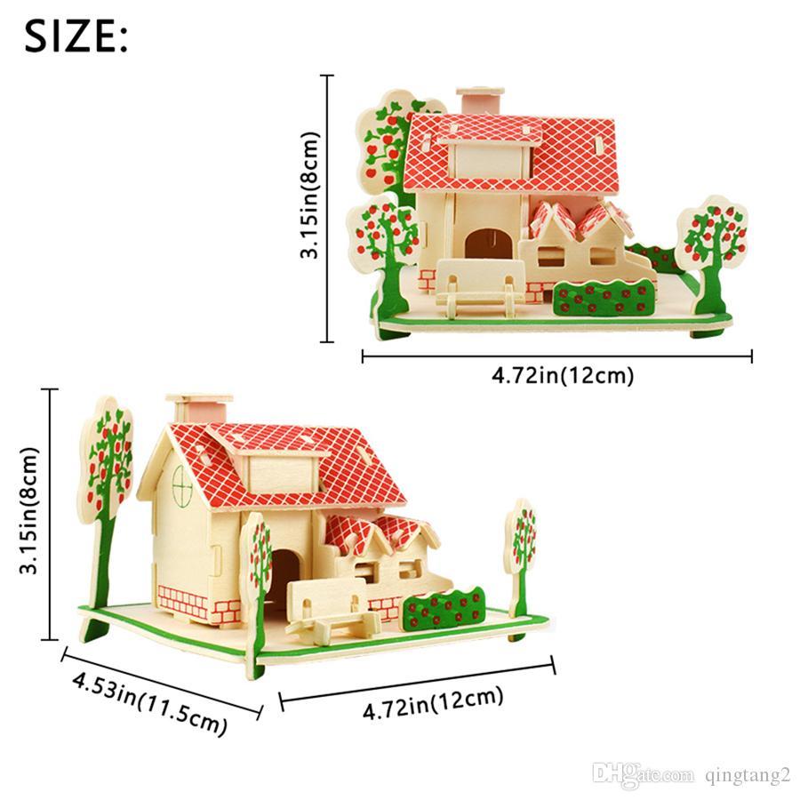 Acheter 3D En Bois Maison Puzzles Jouets Pour Enfants Bricolage Assemblé À  La Main Modèle De Construction Kits Éducatifs Loisirs Cadeau Décoration De pour Puzzle En Ligne Facile