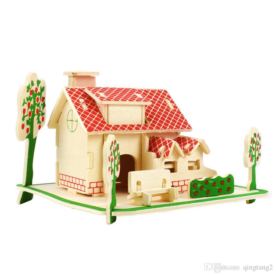 Acheter 3D En Bois Maison Puzzles Jouets Pour Enfants Bricolage Assemblé À  La Main Modèle De Construction Kits Éducatifs Loisirs Cadeau Décoration De tout Puzzle En Ligne Facile