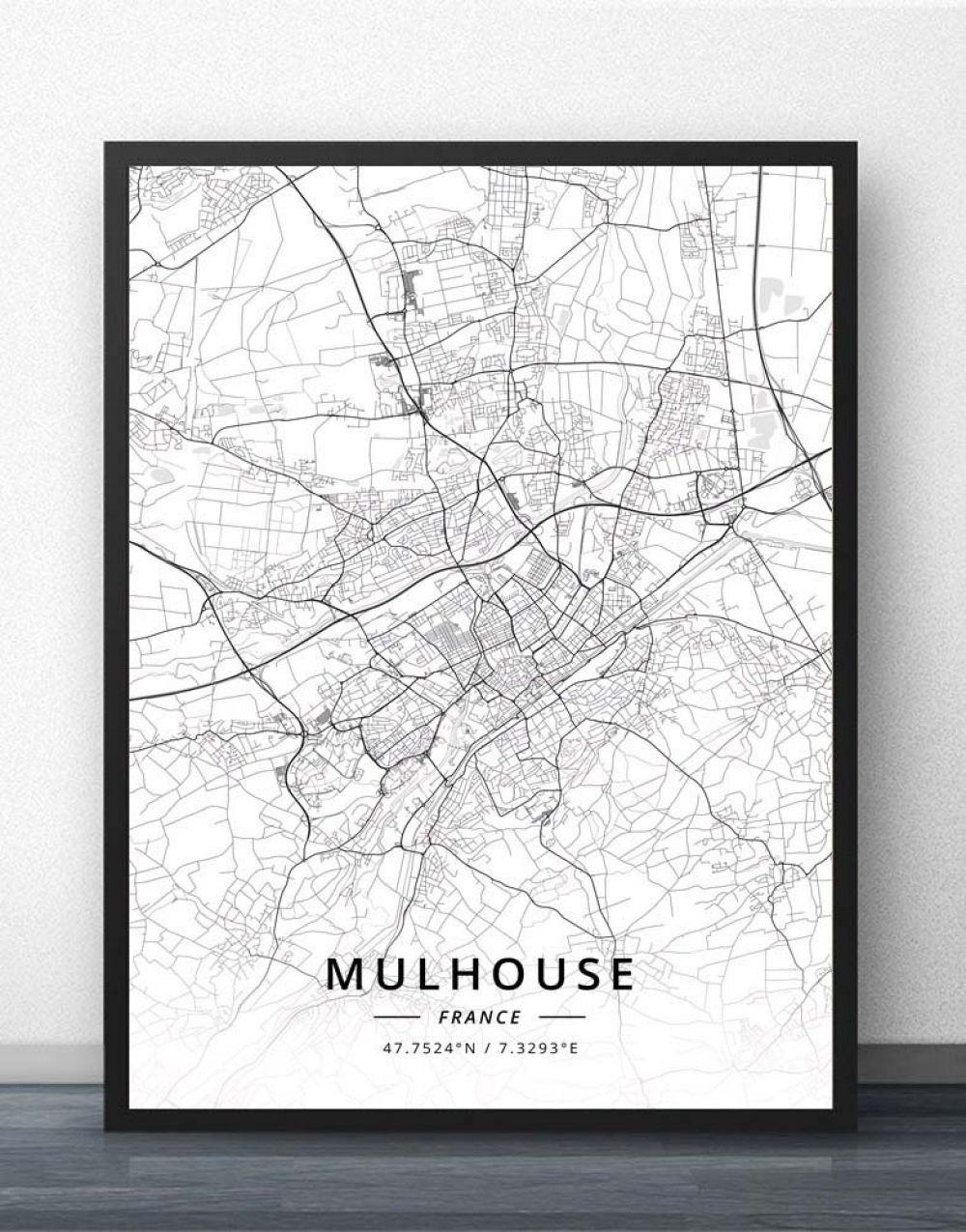 Acheter Poster Carte De Mulhouse En 2020 | Poster, Cartes De dedans Acheter Carte De France