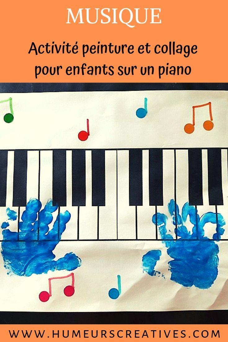 Activités Collage Et Peinture Autour De La Musique : Piano avec Activité Musicale Maternelle